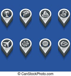 weather and travel symbols in 3d