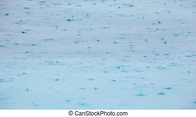 weather background, rain drops fall on water surface