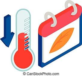 Weather change icon, isometric style