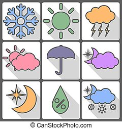 Weather colorful icons on a white background, vector illustration