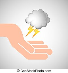 weather concept forecast cloud lightning icon design