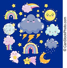 weather cute sun cloud storm rain thunder rainbow and moon with happy faces