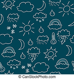 Weather - Doodle seamless background texture illustration - ...