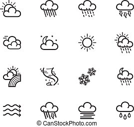 Weather element vector black icon set on white
