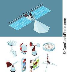 Weather equipment. Meteorological station satellite ...