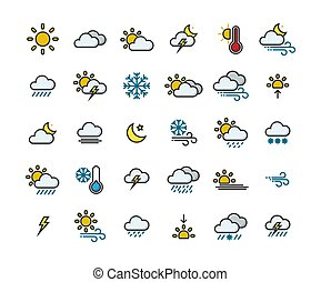 Weather filled outline icon set ,Vector Illustration.