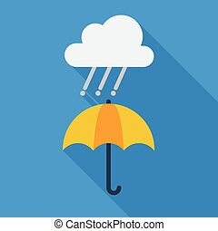Weather Flat Icon. Rainy and umbrella