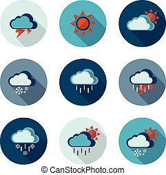 weather flat icons in vector format