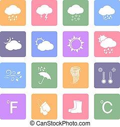 Weather flat icons set