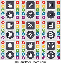 Weather, Football, Media skip, Negative films, RSS, SIM card, Notification, Apple, Headphones icon symbol. A large set of flat, colored buttons for your design. Vector