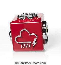 Weather forecast 3d cube, with cloud, rain and thunder