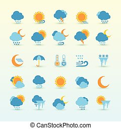 Weather Forecast And Meteorology Set - Vector Set Of Weather...
