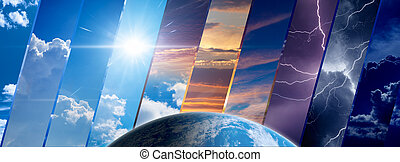 Weather forecast background, climate change concept, collage...