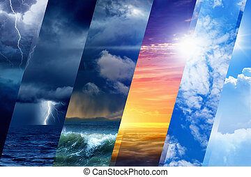 Weather forecast background - variety weather conditions, ...