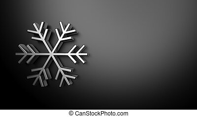 Weather forecast background, with 3d silver snowflake