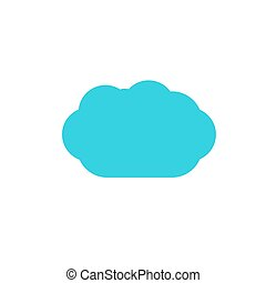 blue cloud color flat web icon