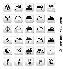 Weather forecast buttons set - Weather icons set on modern...