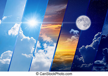 Weather forecast collage, day and night, light and darkness, sun and moon