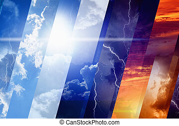 Weather forecast concept background - variety weather...