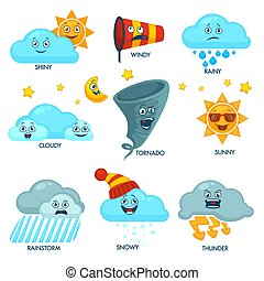 Weather forecast elements with faces and signs set. Sun and...