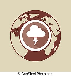 weather forecast globe lightning cloud with shadow icon graphic