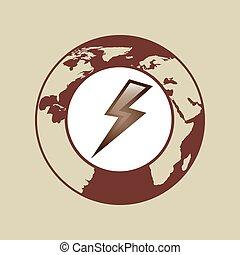 weather forecast globe lightning icon graphic