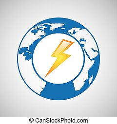 weather forecast globe lightning icon graphic