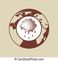 weather forecast globe rain cloud icon graphic