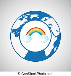 weather forecast globe rainbow cloud icon graphic