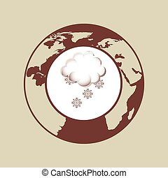 weather forecast globe snowflake cloud icon graphic