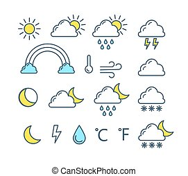 Weather forecast icon collection. Sun, crescent moon, cloud, rain and rainbow.