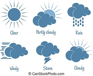 Weather forecast icon set. Six different icon