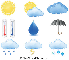 Weather Forecast Icons. Outdoor Thermometer, Sun, Cloud,...