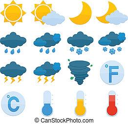 Weather Forecast Icons Set - Weather forecast symbols color...