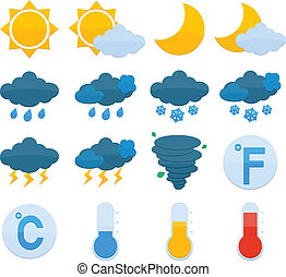 Weather Forecast Icons Set - Weather forecast symbols color...