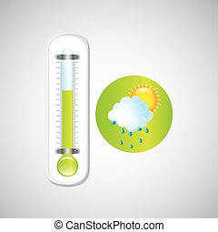 weather forecast rain sun. thermometer green icon