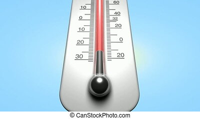 Weather thermometer video animation showing the mercury rising from cold to hot