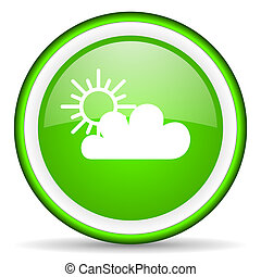 weather green glossy icon on white background