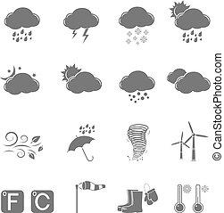 Weather grey icons set