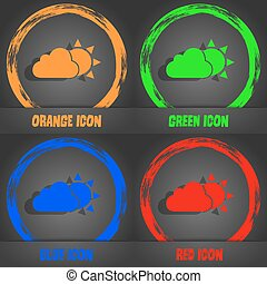 weather icon. Fashionable modern style. In the orange, green, blue, red design. Vector