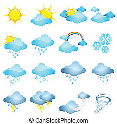 illustration of set of different weather icon in halftone style