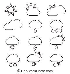 weather icon line set illustration