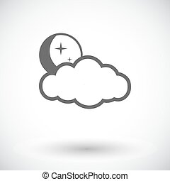 Weather icon. Moon, stars and clouds.