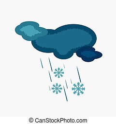 Weather Icon of the Cloudy Sky with Snow and Rain