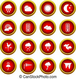 Weather icon red circle set