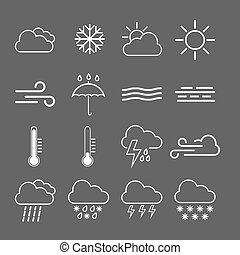 Weather icon set. Vector illustration, flat design.