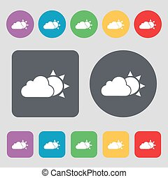 weather icon sign. A set of 12 colored buttons. Flat design. Vector