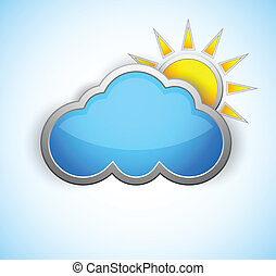 Weather icon - Sun and cloud weather icon. Shiny design