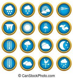 Weather icons blue circle set