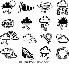 Weather Icons - A set of monochrome weather icons like those...